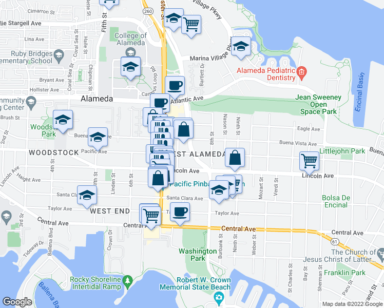 map of restaurants, bars, coffee shops, grocery stores, and more near 764 Pacific Ave in Alameda