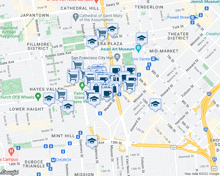 map of restaurants, bars, coffee shops, grocery stores, and more near 145 Fell Street in San Francisco