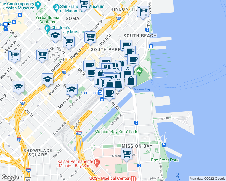 map of restaurants, bars, coffee shops, grocery stores, and more near 210 King Street in San Francisco