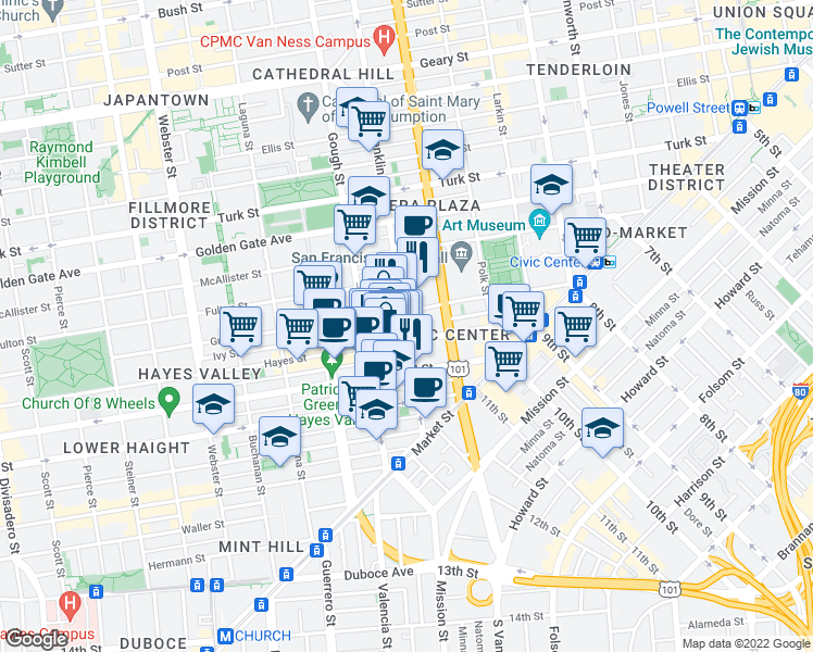 map of restaurants, bars, coffee shops, grocery stores, and more near Franklin St & Ivy St in San Francisco