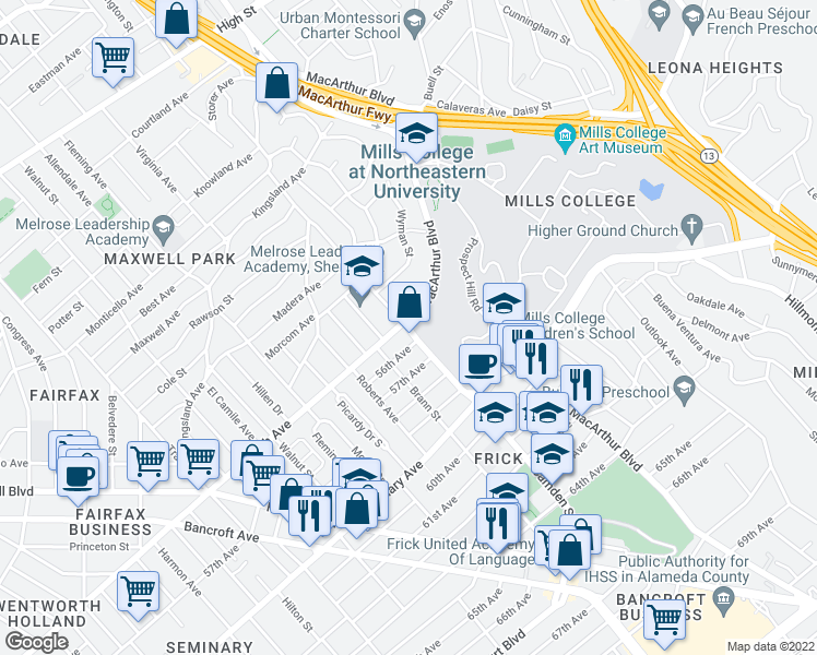 map of restaurants, bars, coffee shops, grocery stores, and more near MacArthur Boulevard in Oakland