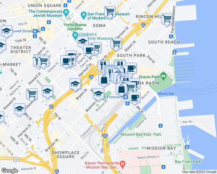 map of restaurants, bars, coffee shops, grocery stores, and more near 525 Brannan Street in San Francisco
