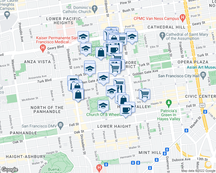 map of restaurants, bars, coffee shops, grocery stores, and more near Steiner St & McAllister St in San Francisco