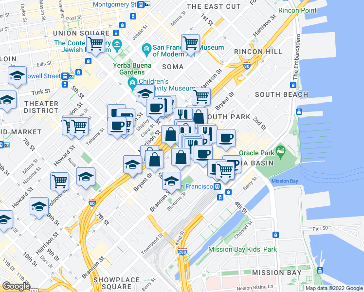 map of restaurants, bars, coffee shops, grocery stores, and more near 504 4th St in San Francisco