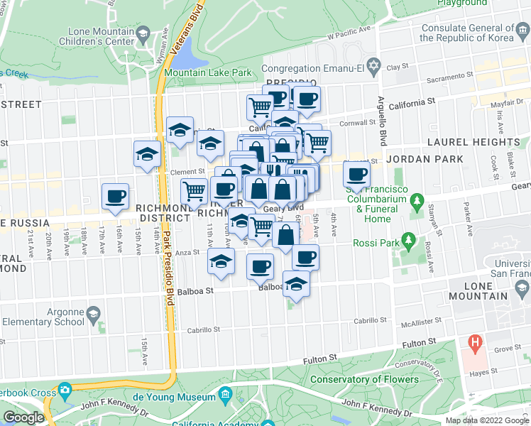 map of restaurants, bars, coffee shops, grocery stores, and more near 402 8th Avenue in San Francisco