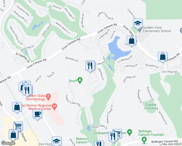 map of restaurants, bars, coffee shops, grocery stores, and more near 3010 Lakemont Dr in San Ramon