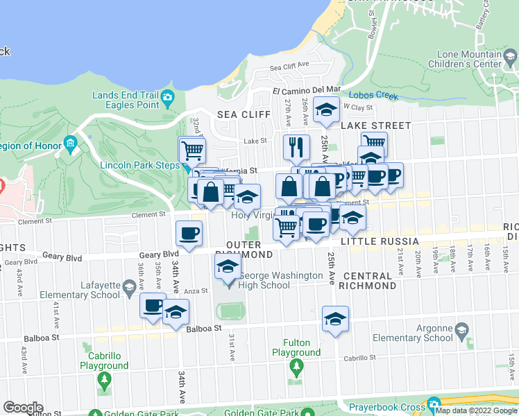 map of restaurants, bars, coffee shops, grocery stores, and more near 29th Avenue & Clement Street in San Francisco