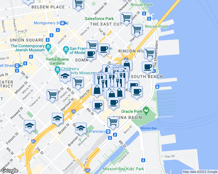 map of restaurants, bars, coffee shops, grocery stores, and more near 461 Bryant St in San Francisco