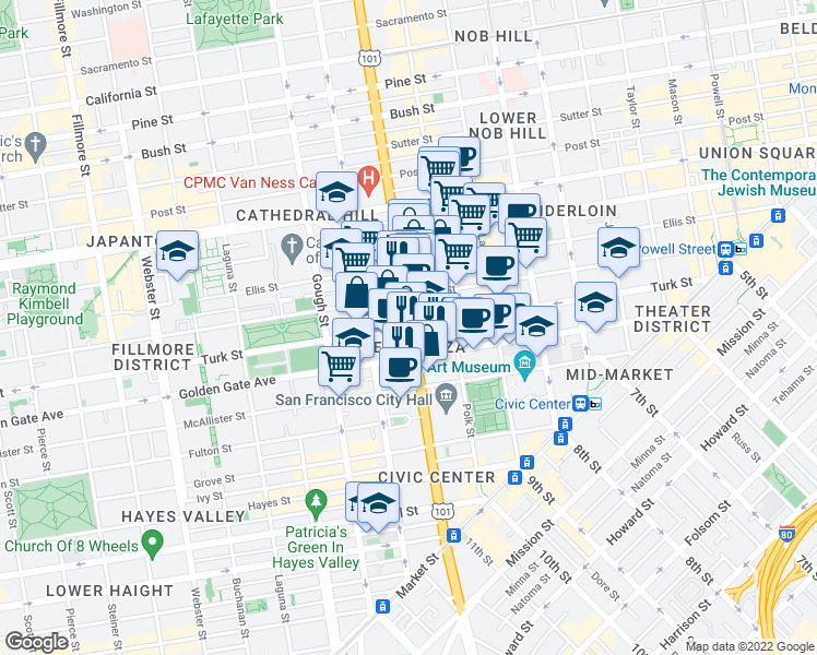 map of restaurants, bars, coffee shops, grocery stores, and more near Van Ness Avenue & Turk Stree
