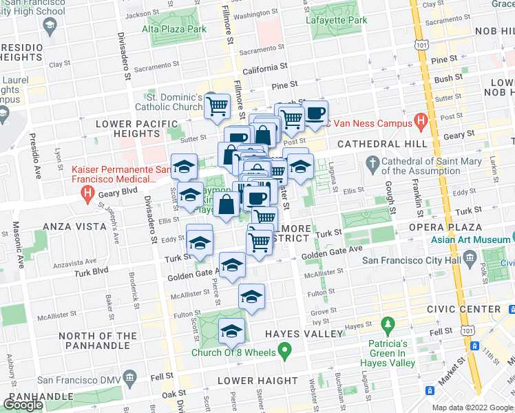 map of restaurants, bars, coffee shops, grocery stores, and more near 1400 Fillmore St in San Francisco