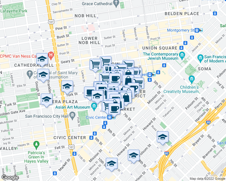 map of restaurants, bars, coffee shops, grocery stores, and more near 275 Turk St in San Francisco