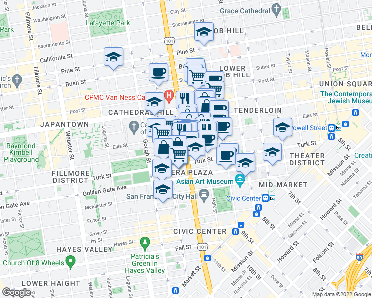map of restaurants, bars, coffee shops, grocery stores, and more near 810 Eddy Street in San Francisco