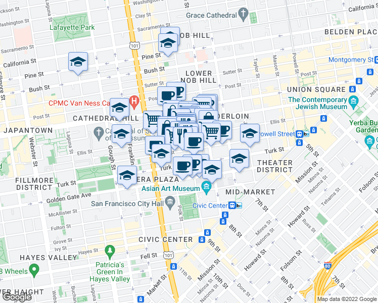 map of restaurants, bars, coffee shops, grocery stores, and more near 620 Eddy Street in San Francisco