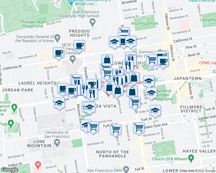 map of restaurants, bars, coffee shops, grocery stores, and more near 1385 Baker Street in San Francisco