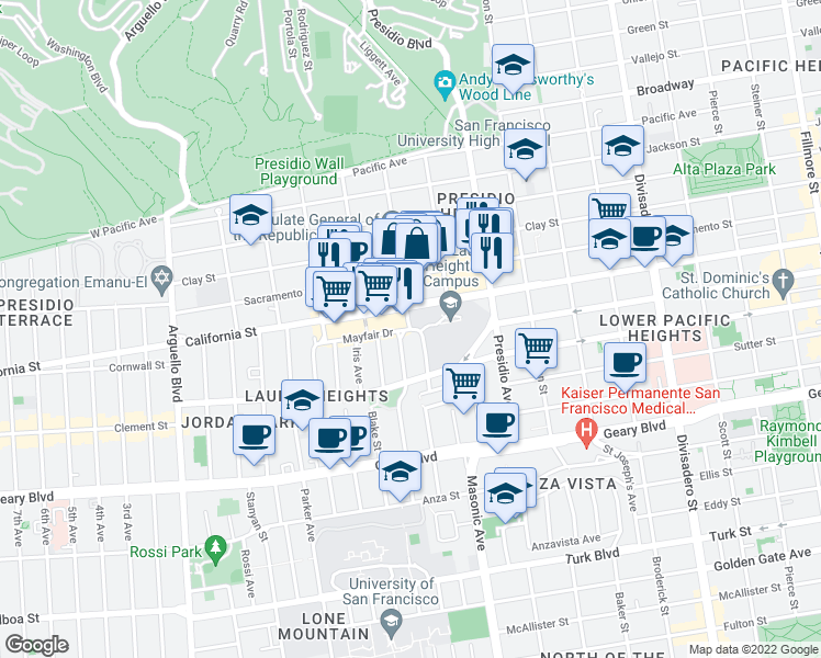 map of restaurants, bars, coffee shops, grocery stores, and more near Laurel St & Mayfair Dr in San Francisco
