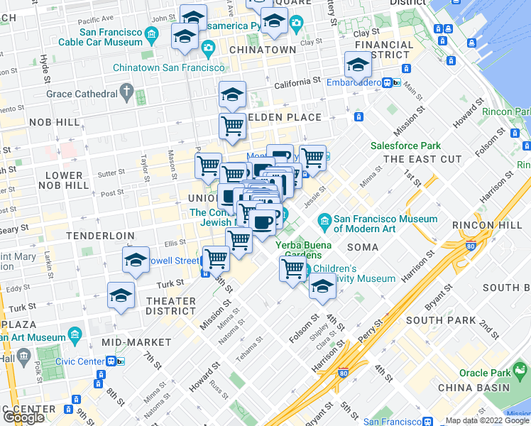 map of restaurants, bars, coffee shops, grocery stores, and more near 757 Market Street in San Francisco