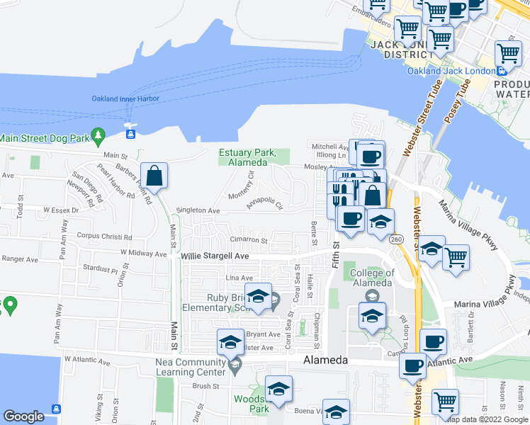 map of restaurants, bars, coffee shops, grocery stores, and more near 250 Singleton Ave in Alameda