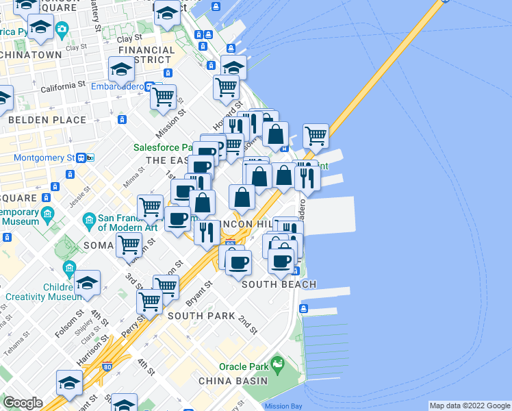 map of restaurants, bars, coffee shops, grocery stores, and more near 400 Beale Street in San Francisco