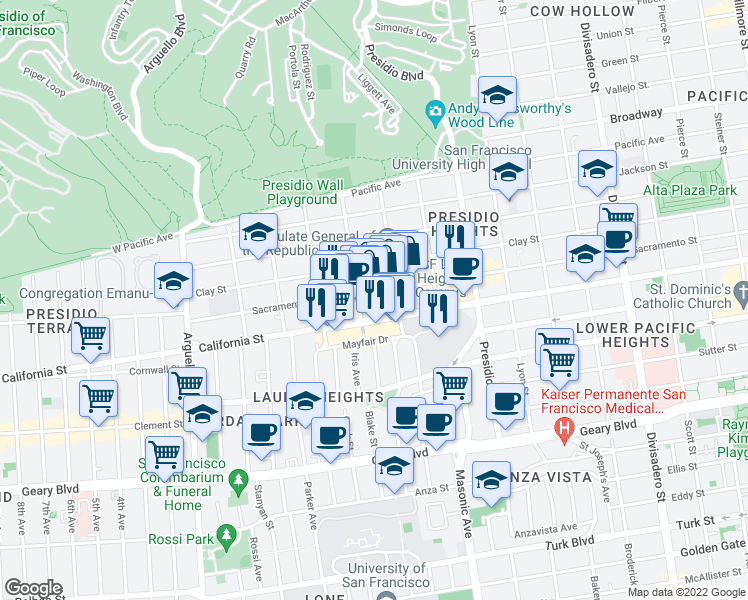 map of restaurants, bars, coffee shops, grocery stores, and more near 3561 Sacramento Street in San Francisco