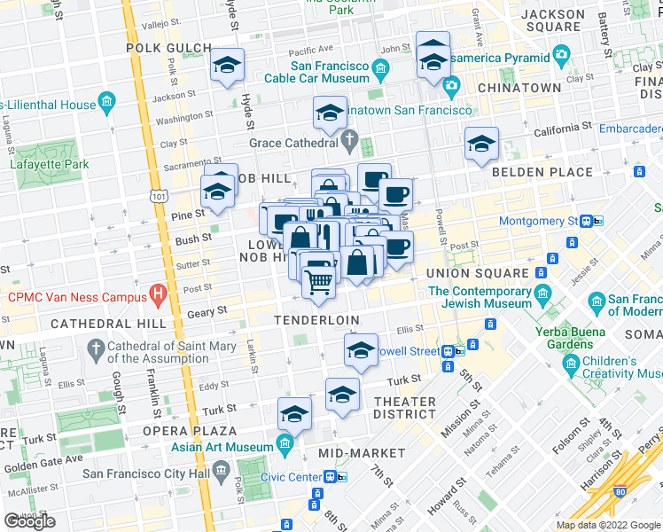 map of restaurants, bars, coffee shops, grocery stores, and more near 757 Sutter Street in San Francisco