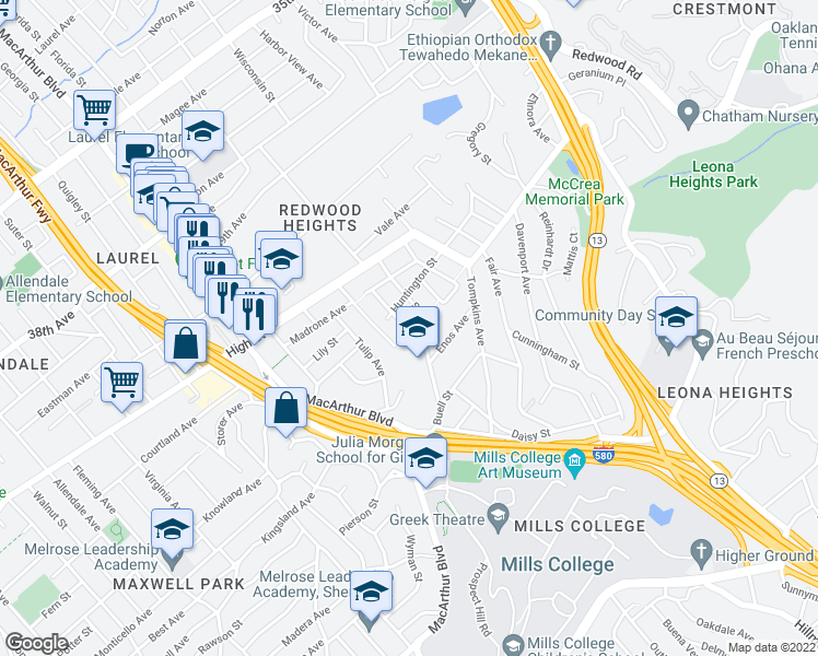 map of restaurants, bars, coffee shops, grocery stores, and more near 4428 Albert St in Oakland