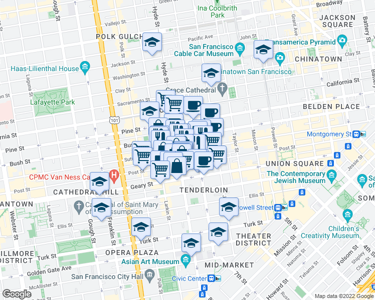 map of restaurants, bars, coffee shops, grocery stores, and more near 965 Sutter Street in San Francisco