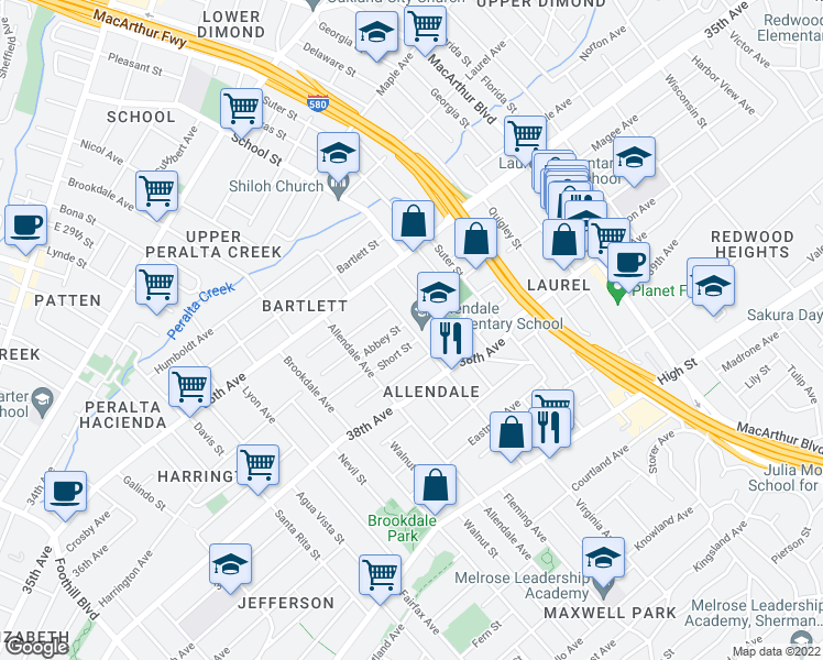 map of restaurants, bars, coffee shops, grocery stores, and more near 3707 Penniman Avenue in Oakland