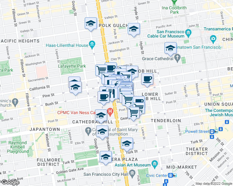 map of restaurants, bars, coffee shops, grocery stores, and more near 1465 Bush St in San Francisco