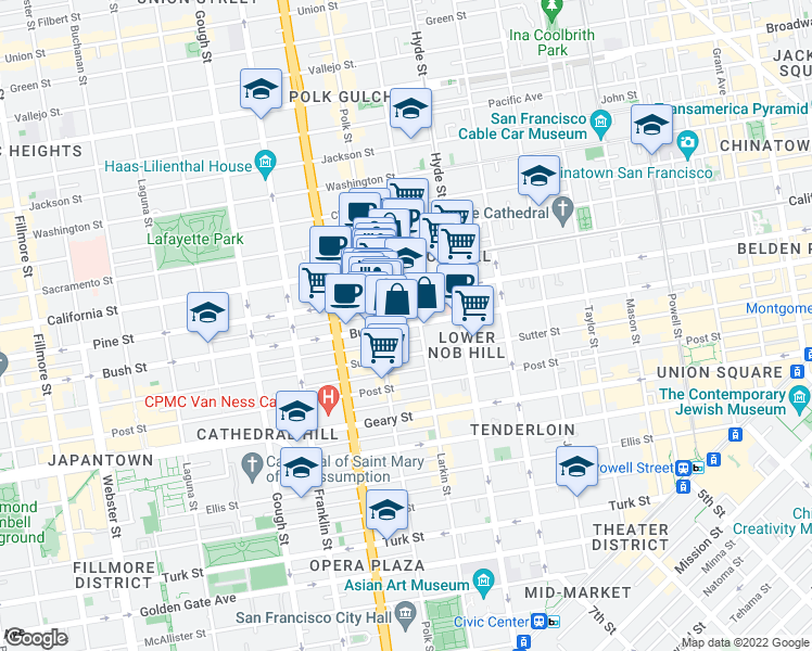 map of restaurants, bars, coffee shops, grocery stores, and more near 1461 Pine Street in San Francisco