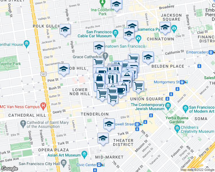 map of restaurants, bars, coffee shops, grocery stores, and more near 750 Sutter Street in San Francisco