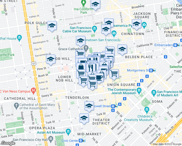 map of restaurants, bars, coffee shops, grocery stores, and more near 701 Taylor Street in San Francisco