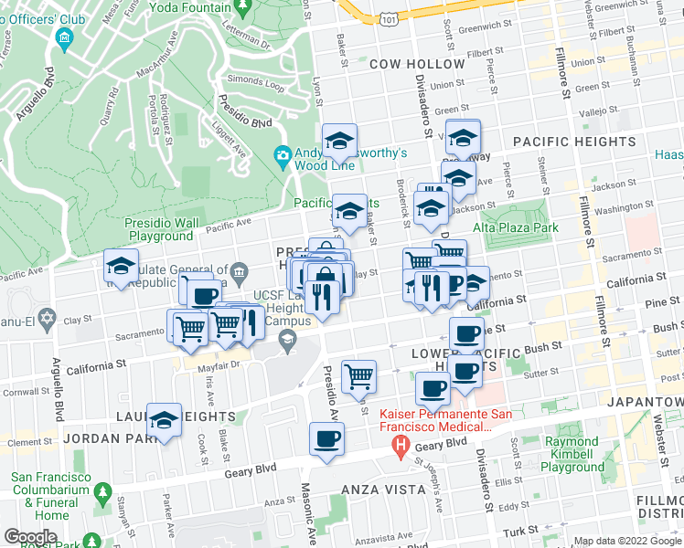 map of restaurants, bars, coffee shops, grocery stores, and more near 3234 Clay Street in San Francisco