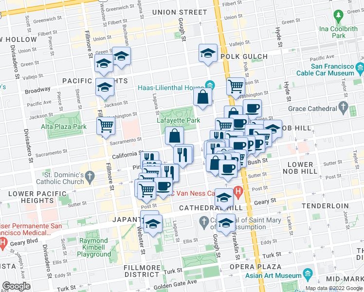 map of restaurants, bars, coffee shops, grocery stores, and more near California Street & Octavia Street in San Francisco