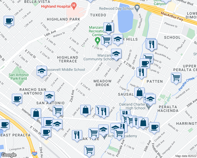 map of restaurants, bars, coffee shops, grocery stores, and more near E 24th St & 24th Ave in Oakland