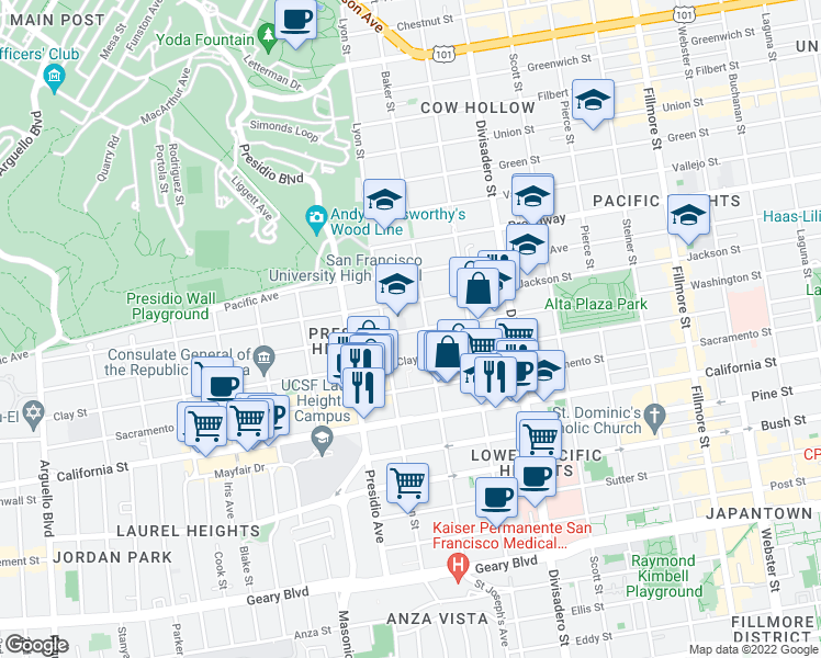 map of restaurants, bars, coffee shops, grocery stores, and more near 3128 Washington Street in San Francisco