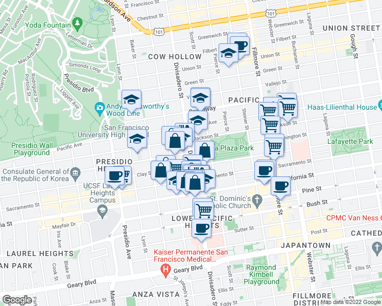 map of restaurants, bars, coffee shops, grocery stores, and more near 2899 Washington St in San Francisco