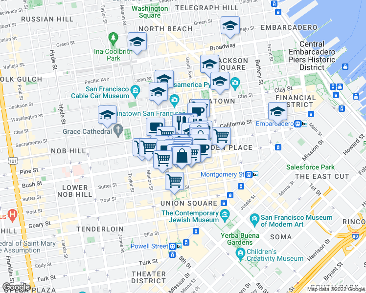 map of restaurants, bars, coffee shops, grocery stores, and more near Pine Street & Stockton Street in San Francisco