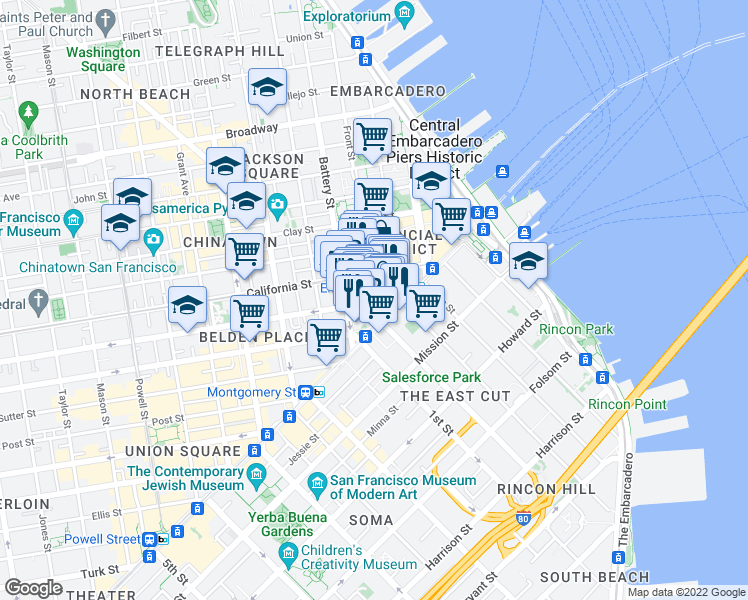 map of restaurants, bars, coffee shops, grocery stores, and more near None in San Francisco
