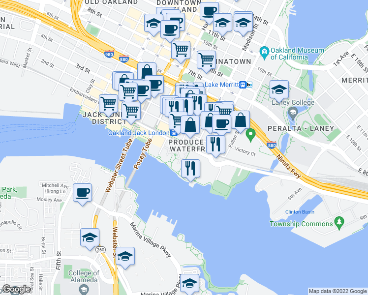 map of restaurants, bars, coffee shops, grocery stores, and more near 137-181 Embarcadero West in Oakland
