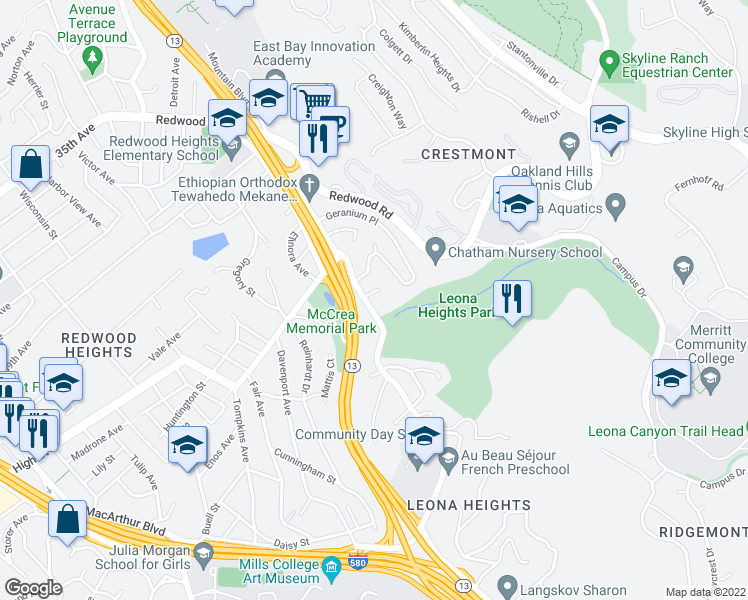 map of restaurants, bars, coffee shops, grocery stores, and more near 25 Berneves Ct in Oakland