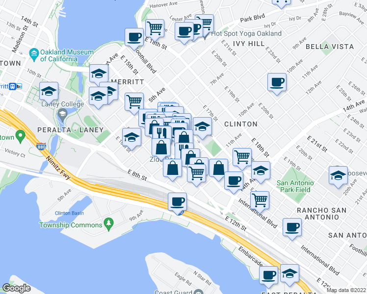 map of restaurants, bars, coffee shops, grocery stores, and more near International Blvd in Oakland