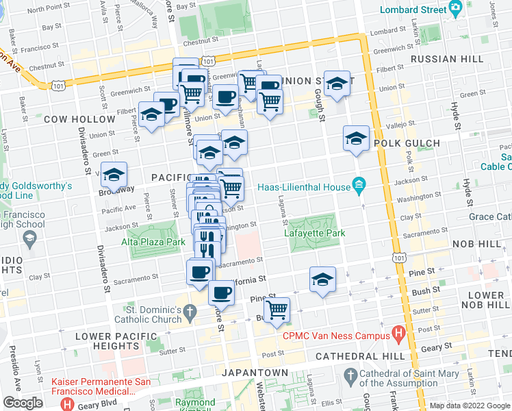 map of restaurants, bars, coffee shops, grocery stores, and more near Buchanan Street in San Francisco