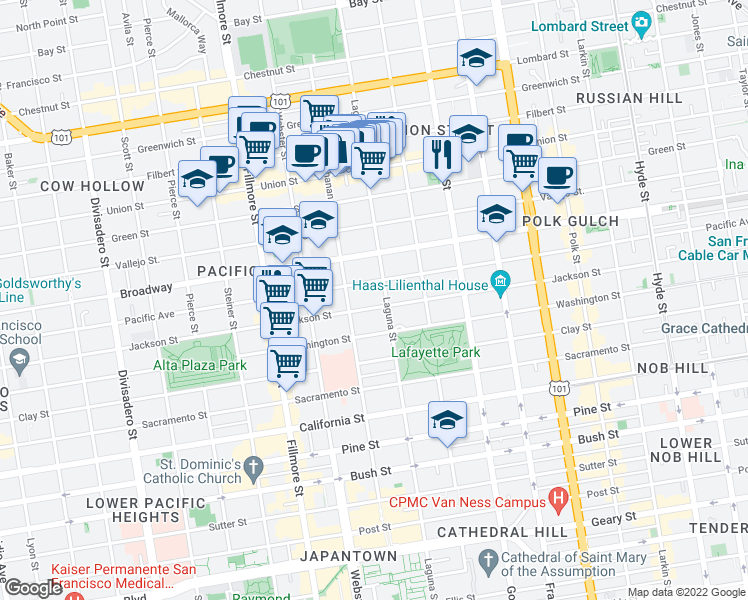 map of restaurants, bars, coffee shops, grocery stores, and more near 2110 Jackson St in San Francisco