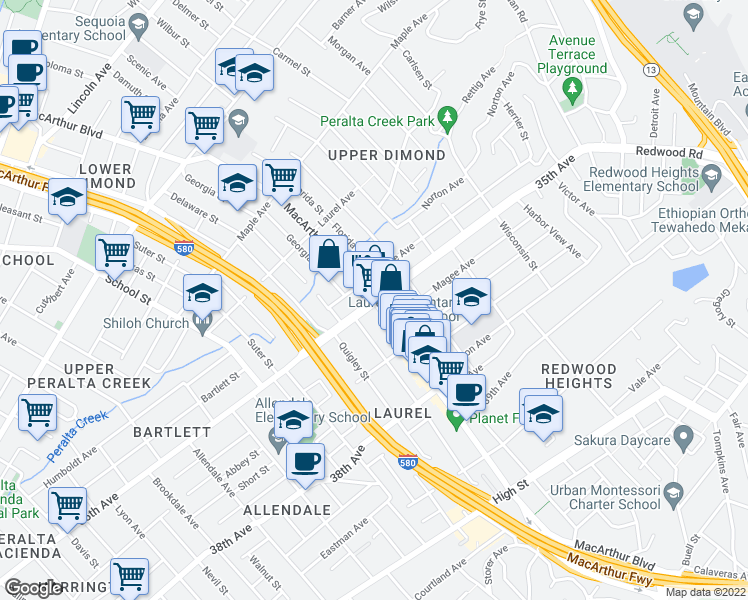 map of restaurants, bars, coffee shops, grocery stores, and more near MacArthur Boulevard & 35th Avenue in Oakland