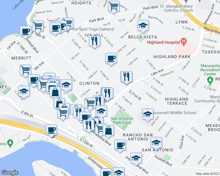 map of restaurants, bars, coffee shops, grocery stores, and more near 1221 E 20th St in Oakland