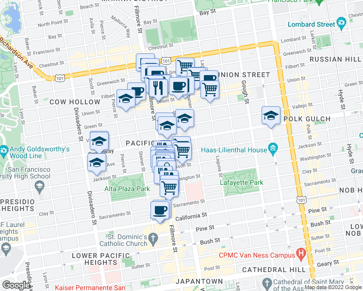 map of restaurants, bars, coffee shops, grocery stores, and more near 2550 Webster Street in San Francisco