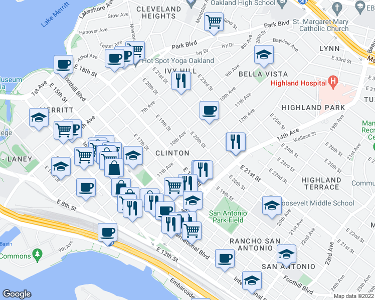 map of restaurants, bars, coffee shops, grocery stores, and more near E 19th St & 11th Ave in Oakland