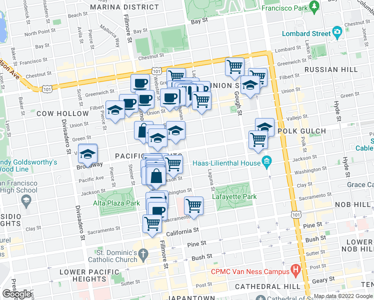 map of restaurants, bars, coffee shops, grocery stores, and more near Broadway & Buchanan Street in San Francisco