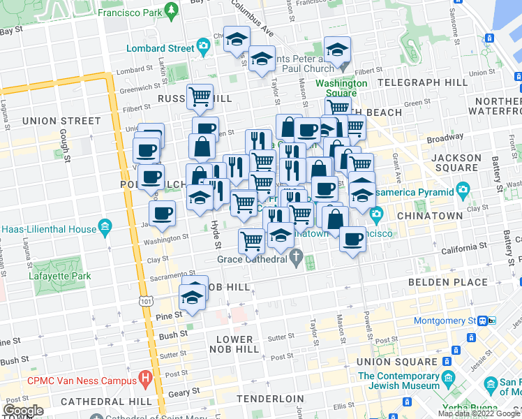 map of restaurants, bars, coffee shops, grocery stores, and more near 1215 Jackson Street in San Francisco