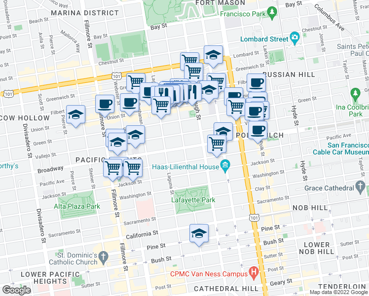 map of restaurants, bars, coffee shops, grocery stores, and more near Broadway & Octavia St in